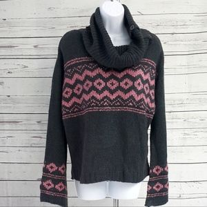 NWT Pink Repubic gray pink geometric cowl sweater